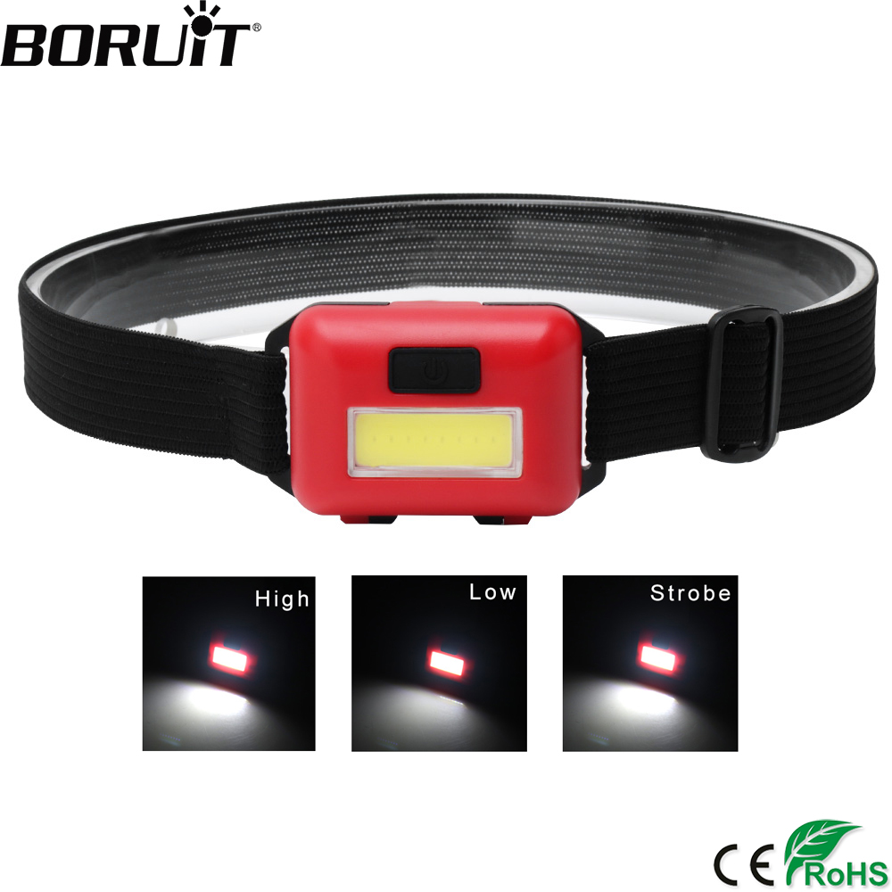 BORUiT COB LED Mini Headlamp Use AAA Battery Headlight 3-Mode Head Torch Camping Hiking Night Fishing Flashlight
