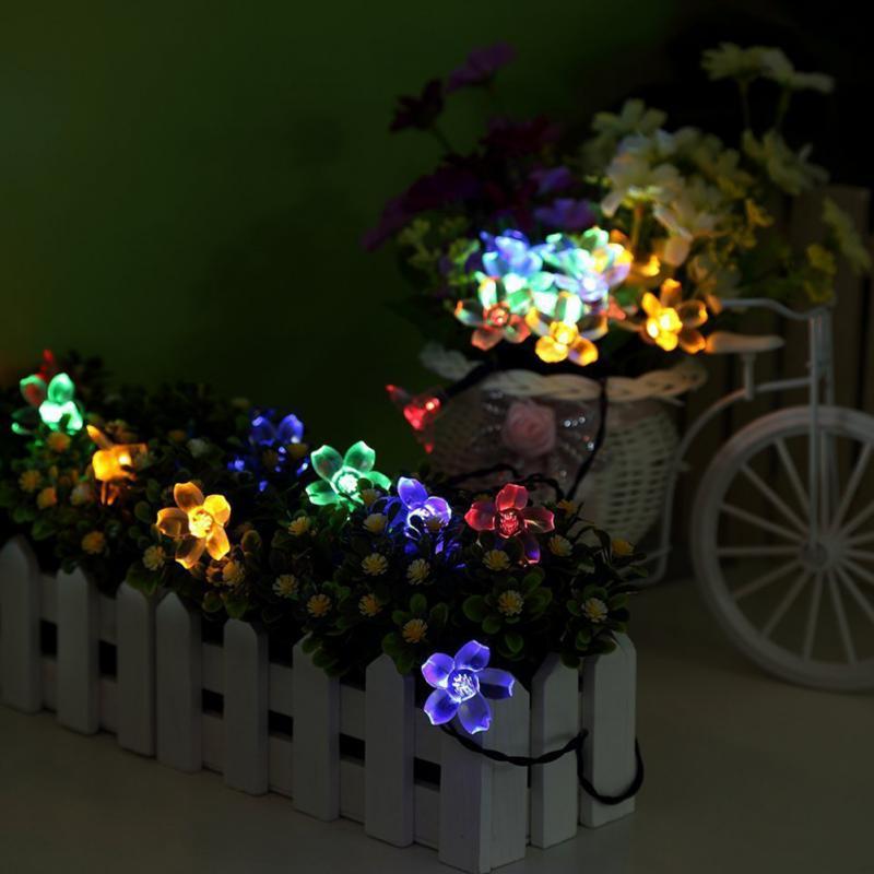 Solar String Lights 50 Led Blossom Flower Fairy Light Christmas Lights For  Outdoor LED Garland Patio