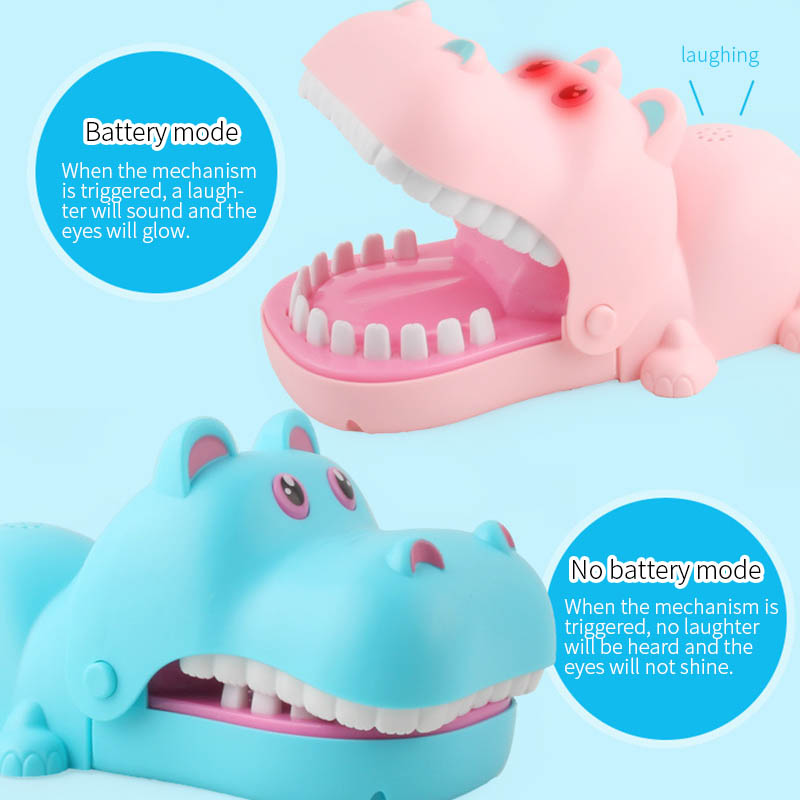 US $14 2 |New Biting Funny Tricky Horror Toy Hippo Bites Blue Pink Hippo  Electric Lighting Sound Effect Children Educational Toys For Kid-in Gags &