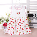 Free shipping 2015 Children's Summer Dress Cotton Embroidered Multicolor Printing Splice Sleeveless 0-2 years baby girl dress