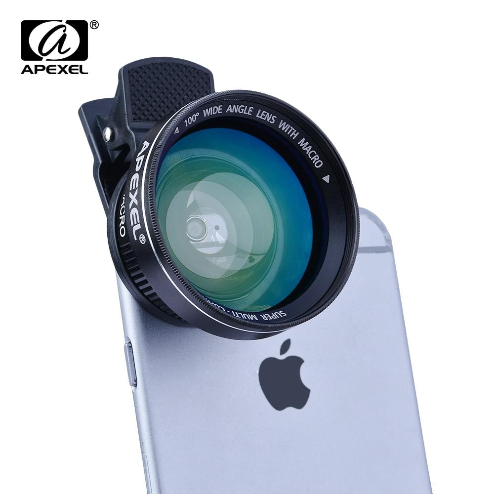 imágenes para APEXEL 2 en 1 Profesional HD Lente de la Cámara Kit 0.63x AMPLIA LENTE MACRO para el iphone SE 6 s Plus Samsung Galaxy S7, S6 y Teléfonos Celulares