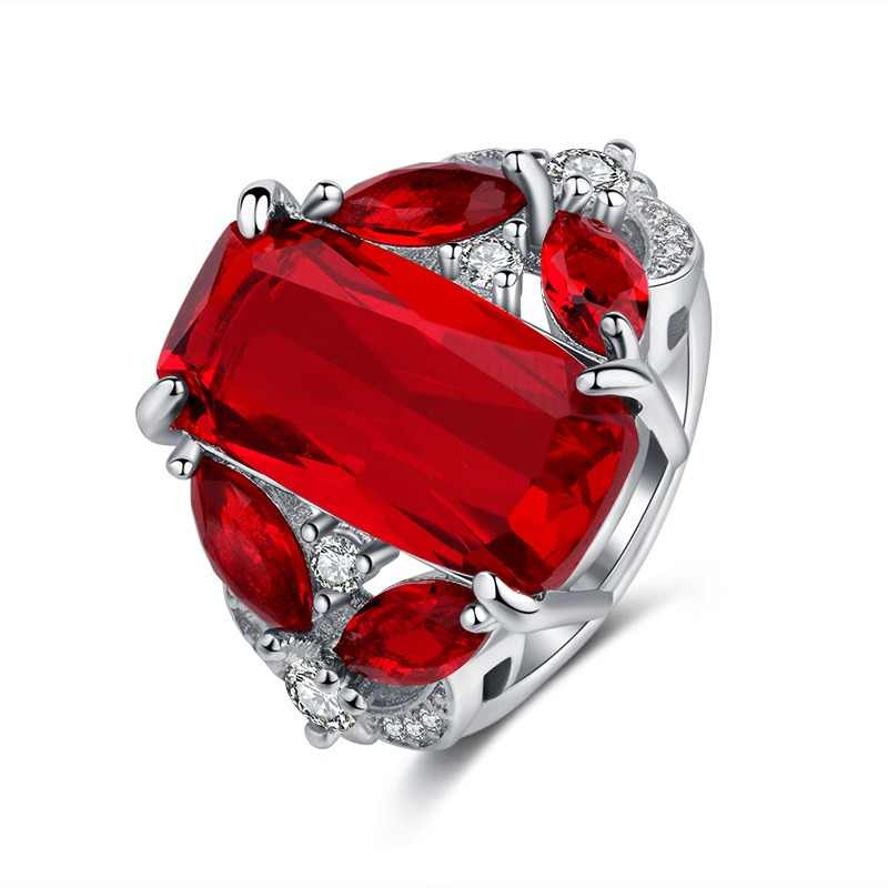 Luxury 6 ct Big Red square Cut Shining AAA Zircon Ring with large CZ stones Ring for Women Fashion Jewelry Rings Valentines Day