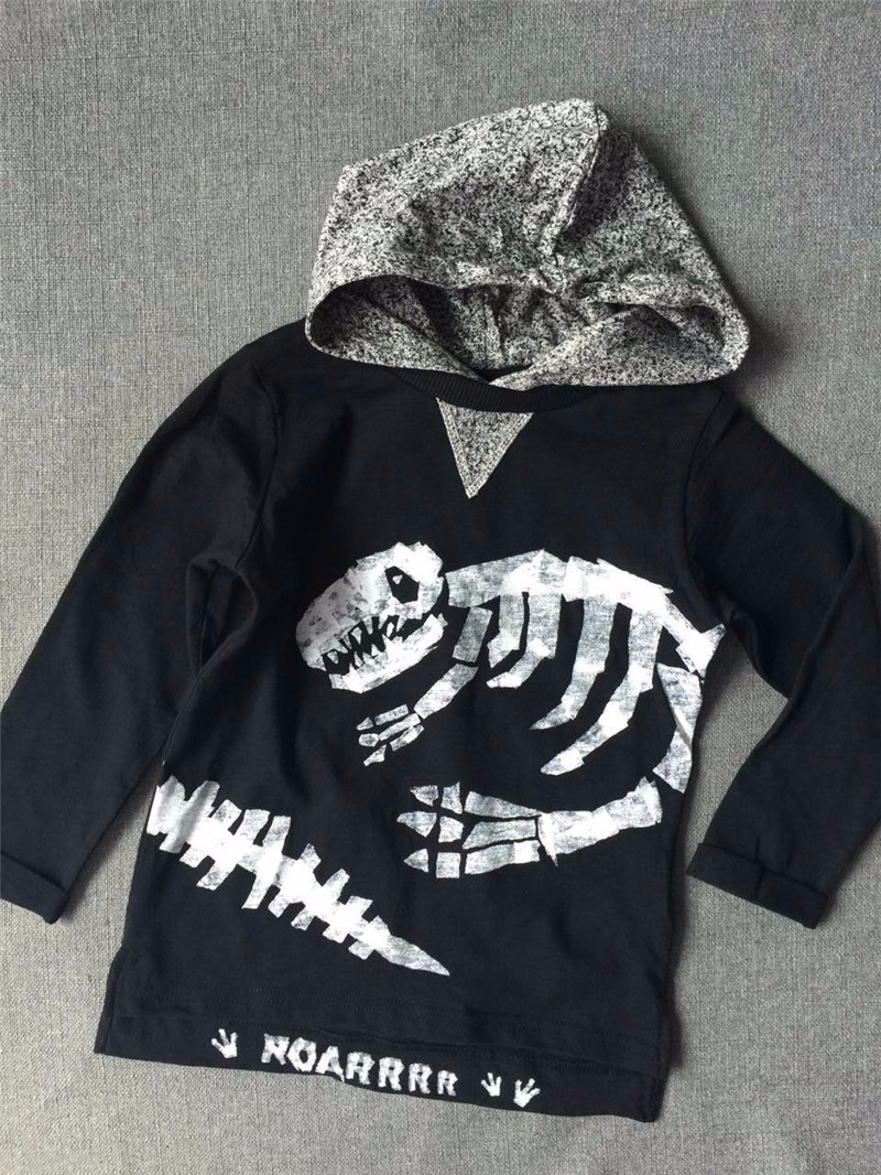 For Boys Hooded Sweater T-shirts Tops Clothing Autumn Winter New Dinosaur Fossil Printing Next Brand Full Sleeve Kids Clothes 10