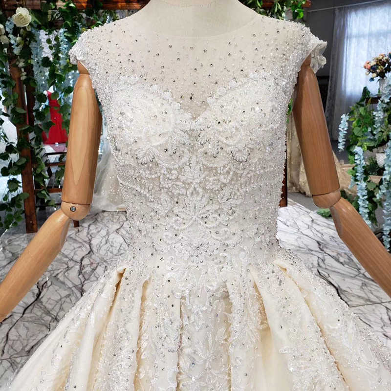 HTL403 Simple Wedding Dress 2019 O-neck sleeveless sexy summer bridal dresses for girl brush train vestido de noiva princesa