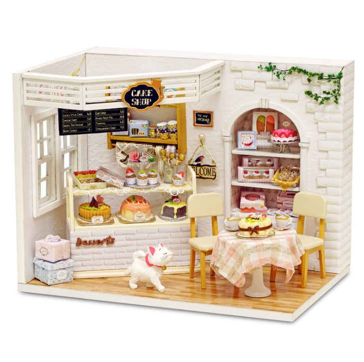 Honest Ins Cake Diary Diy Miniature House 3d Wodden Handmade Dust Cover Dollhouse Toy Miniaturas Furniture Kit Kids Crafts