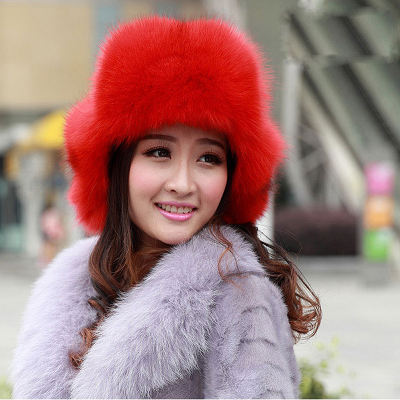 ФОТО 2016 100% Fox Fur Hats &Caps For Women Winter Natural Fox Fur Skullies Beanies Winter Warm Hats Adjusted  Caps Handmake
