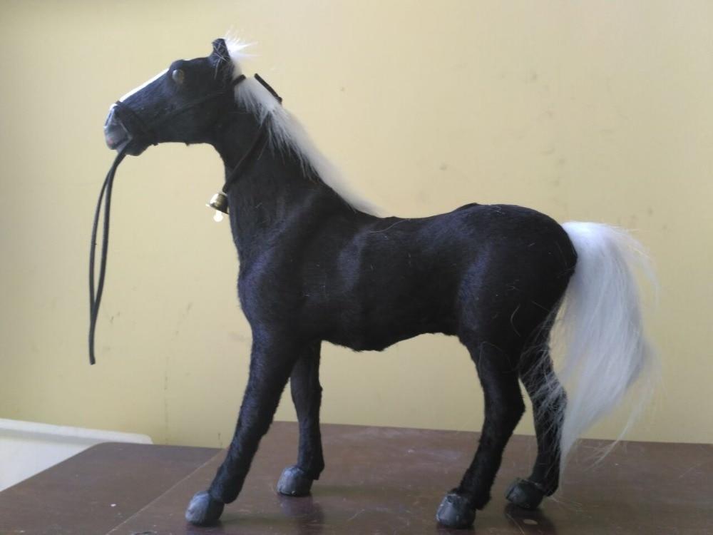 new simulation horse model polyethylene&fur black horse doll about 32x30cm 1692