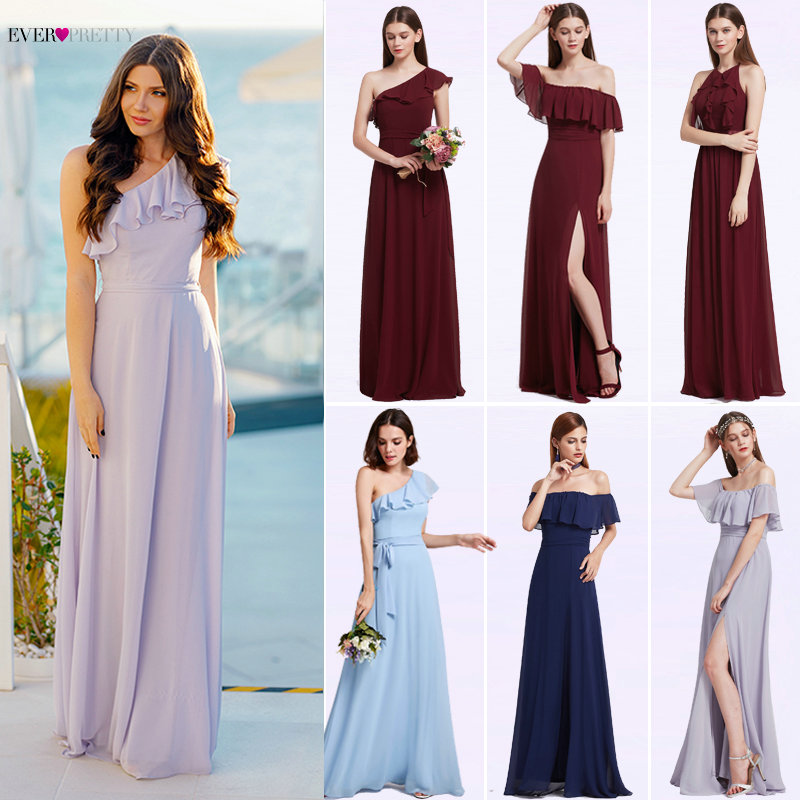 Bridesmaid Dresses Ever Pretty 07211 Sexy One Shoulder Chiffon A-line Ruffles Floor-Length Belt Gowns Beach Wedding Guest Dress
