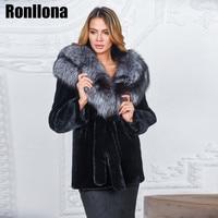 2018Luxury Real Chinchilla Rex Rabbit Fur Coat Women With Silver Fox Fur Hood Thick Warm Winter Natural Rabbit Fur Jacket RB 055