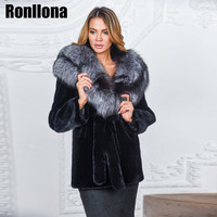2018Luxury Real Chinchilla Rex Rabbit Fur Coat Women With Silver Fox Fur Hood Thick Warm Winter Natural Rabbit Fur Jacket RB 055