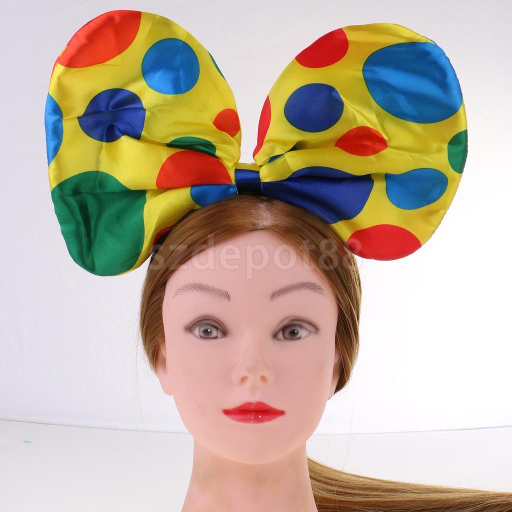2pcs Christmas Festive Polka Dots Clown Hat Headband Circus Jester Costume Fancy Dress Party Hairband Props