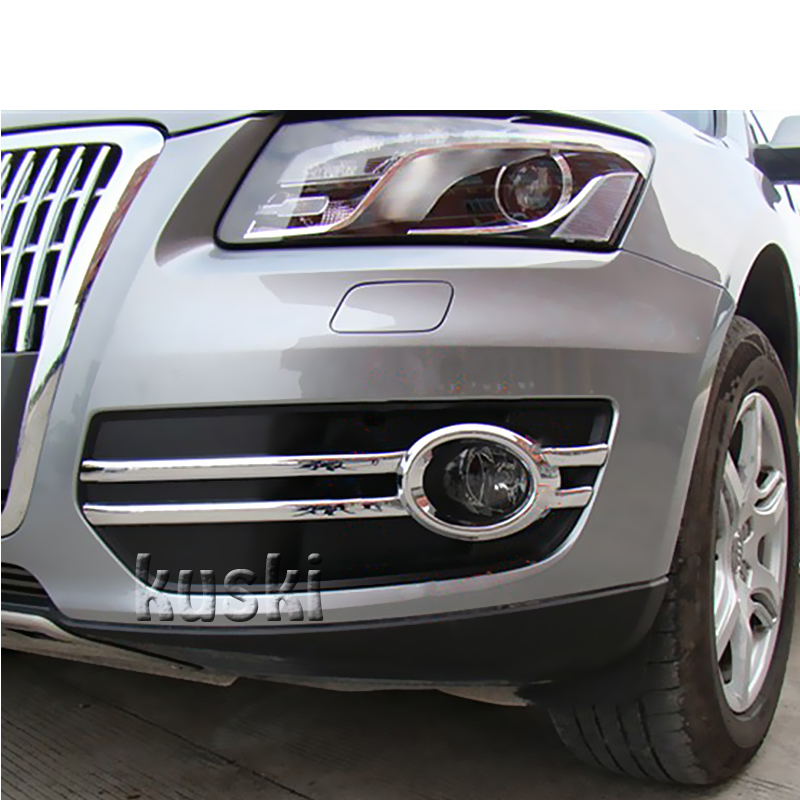 1Set Front Gog Led Light Chrome Cover Trim Bezel Garnish For Audi Q5 2009 2010 2011 2012 Q5 Accessories Car-Styling Stickers hot sale abs chromed front behind fog lamp cover 2pcs set car accessories for volkswagen vw tiguan 2010 2011 2012 2013