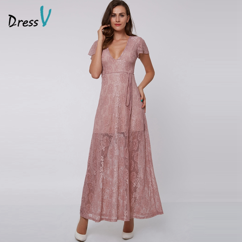 DressV pink A-line long evening dress cheap V-neck short sleeves ankle length lace evening dress formal party dress prom dress