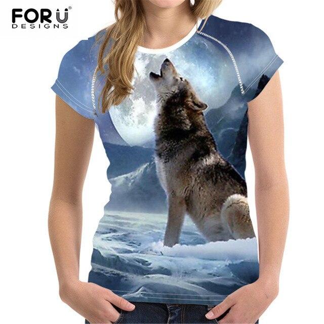 f45d864118 Promo FORUDESIGNS 2019 Moda Mulheres T Shirt Cortar Tops 3D Lobo ...