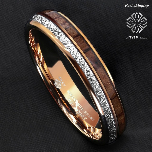 1e564ae59 6mm Rose Gold Dome Tungsten Ring Silver Koa Wood Inlay Bridal ATOP Men  Jewelry