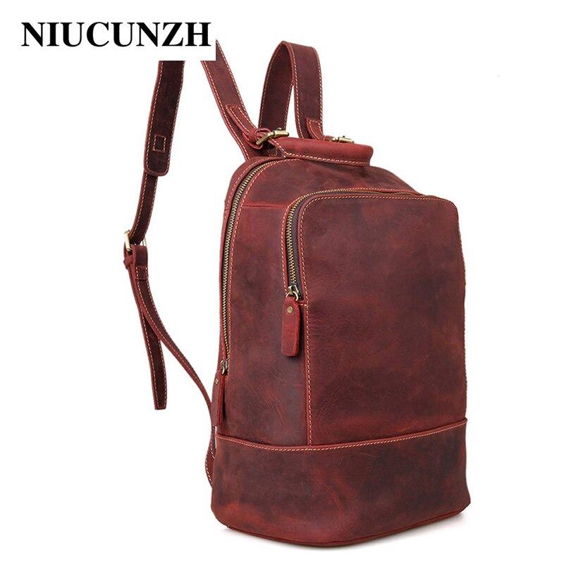 NIUCUNZH Vintage rouge brun sac à dos de voyage pour les femmes classique Crazy Horse cuir sacs à bandoulière femme rabat sac à dos pour ordinateur portable