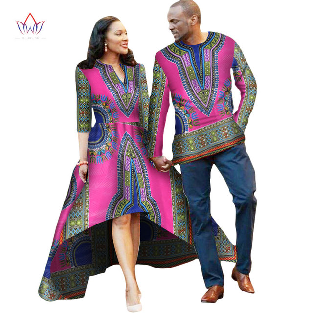African Couple Clothes Lovers Dress Vestidos Men Shirt traditional dresses  african Print Dashiki Plus Size 4xl BRW WYQ05 13511010f8b7