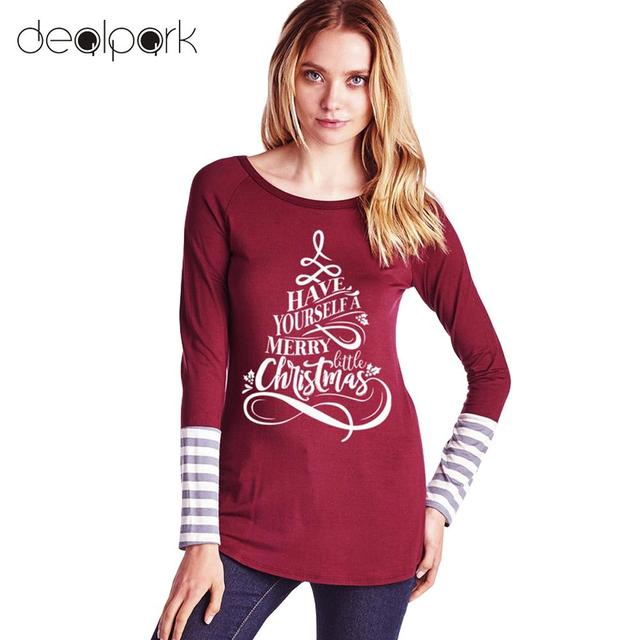 85ca2ee9 2019 Autumn Winter Long Sleeve T Shirt Women Christmas Tshirt Pullover  Letter Printed Stripe T-Shirt Female Casual Tops Femme