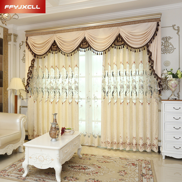 Semi Shading Stitching Europe Embroidered Valance Pretty Floral Curtain For Living Room Bedroom Window Treatment