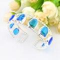 Promotion 2PCS 1Lot Luckyshine Fire Unique Blue Created Topaz Gems Silver Plated Bangles Russia Australia Bracelets Bangles