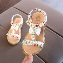 New Baby Girls Summer Shoes Sandals Princess Gladiator Beading Kids Beach Bowtie Flower Soft Bottom