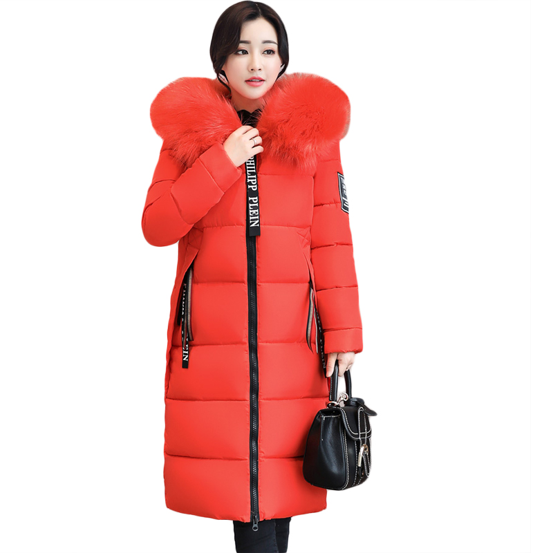 2017 Women Winter Large Fur Hooded Parkas Female Thick Warm Cotton Coat Women Wadded Winter Jackets Outwear Plus Size 6XL CM1795 new arrival 2017 winter jackets women wadded coat female thick warm overcoat large fur collar hooded long parkas plus size ok445