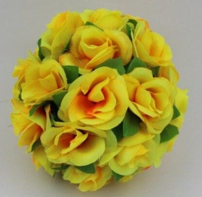 4 шт./лот 38 см искусственного шелка Роуз Висячие цветочные шары для Свадебные украшения - Цвет: Цвет: желтый