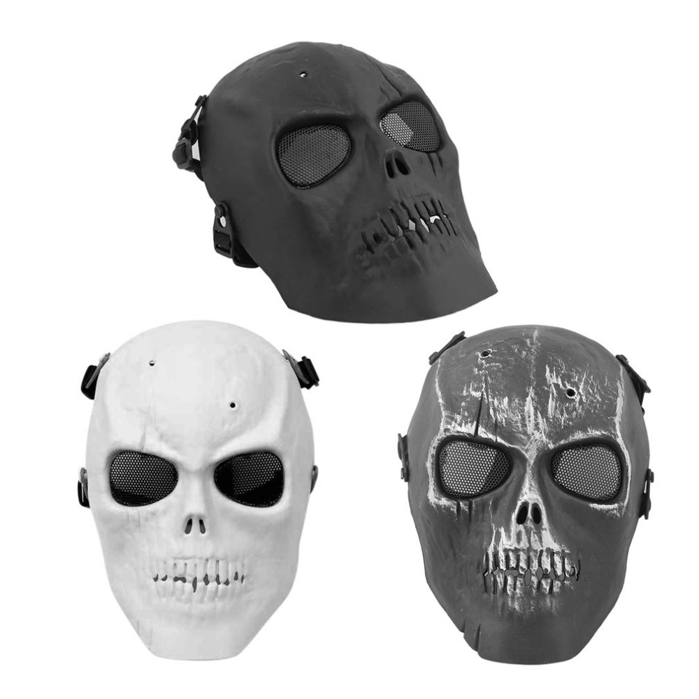 Super Cool Skull Skeleton Mask Cycling Mask Airsoft Full Face Protection Mask Shot Helmets With Eye Shield bicycle HOT SALE