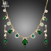 18K Real Plated Green Swiss Cubic Zirconia Tear Drop Pendant Necklace And Earrings Jewelry Sets FREE