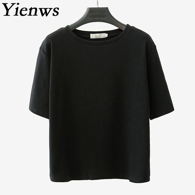 a92e44ad19263 Yienws Korean Style Loose Tee Shirt Femme Ladies Solid Color Plain Summer Short  Sleeve O-Neck Women Tshirts White Black YIT08