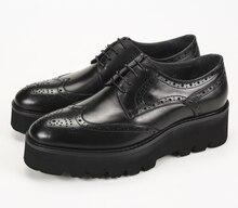 Unique black oxfords formal platform shoes mens dress shoes genuine leather wedding bridegroom shoes outdoor mens casual shoes