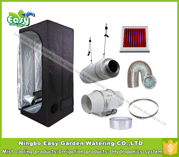 Complete indoor grow tent kits Size 80x80x160CM=2'7''x2'7''x5'3''. with 90W LED grow light and ventilation equipment.