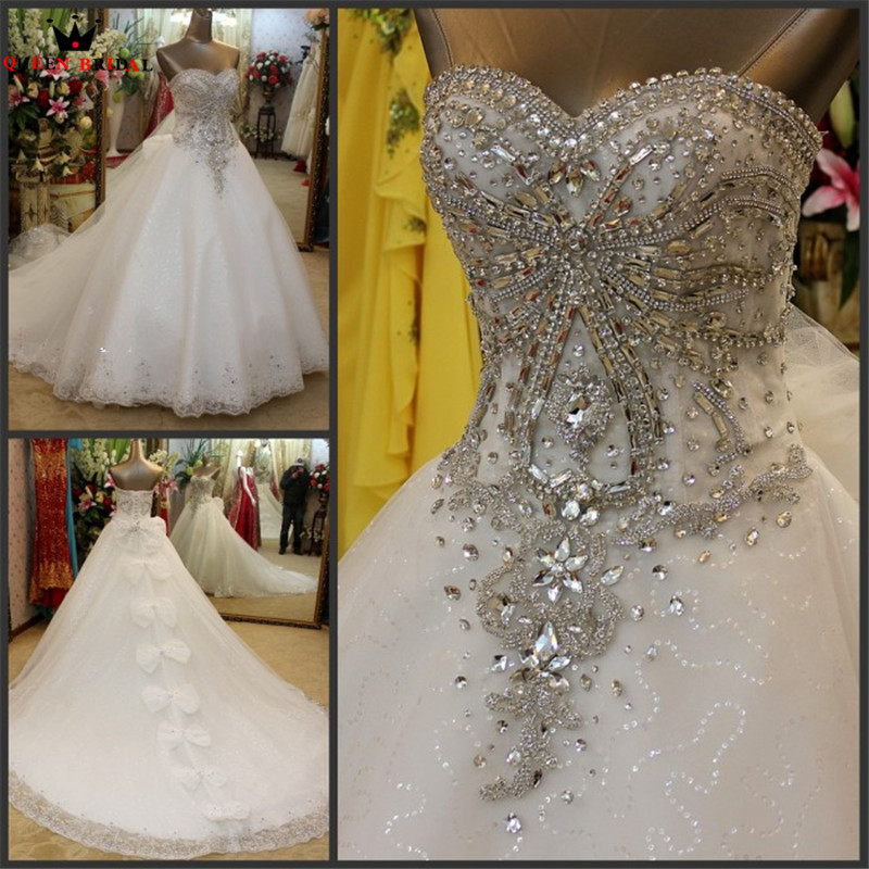 Real Photo Ball Gown Sweetheart Lace Crystal Beaded Diamond Luxury Formal Wedding Dresses 2020 New Custom Made XH60