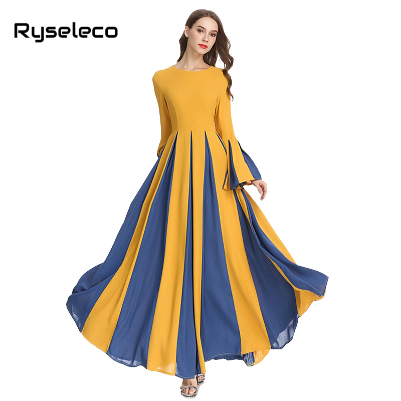 63cf7cdd6b8 ... Party Dress Autumn Winter Cloth. Women Elegant Maxi Dresses OL Vintage  Slim Patchwork Pleated Long Flare Sleeve Full Floor-length