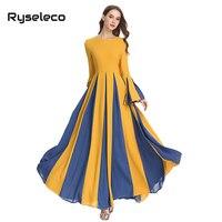 Women Elegant Maxi Dresses OL Vintage Slim Patchwork Pleated Long Flare Sleeve Full Floor length Party Dress Autumn Winter Cloth