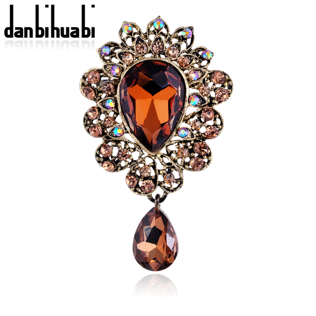 2018 Autumn New Gold Glass Brooch Bouquet Brand Jewelry Big Red Brooch Pins For