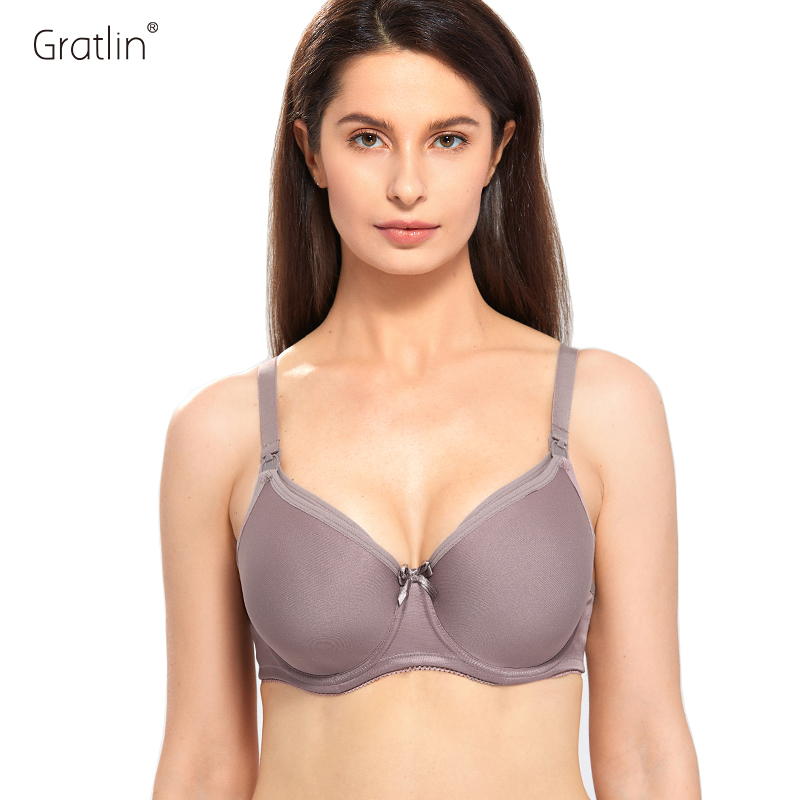 Gratlin Nursing Bra Maternity Plus Size C D DD E F G H Cup Full Coverage Breastfeeding Clothes Pregnancy