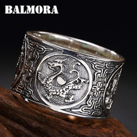 BALMORA 100% Real 999 Pure Silver Jewelry Vintage Dragon Rings for Men Male Women High Quality Silver Ring Jewelry Anillos