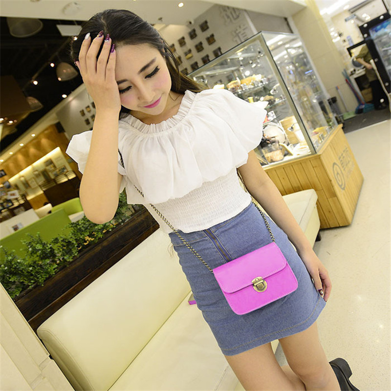 Bolsos Single New Arrival Casual Women Pu Leather Satchel Chain Strap Shoulder Hasp Crossbody Mini Bag