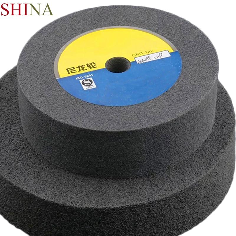 SHINA 1pc Nylon Polishing Grinding Wheel 150/200/250/300*50*18mm Abrasive Disc Stainless Steel Metal Resin  5/7/9p/12p Non Woven