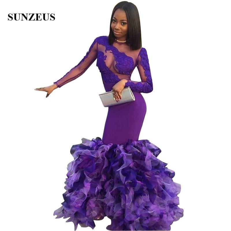 Русалка Фиолетовый длинное платье на выпускной аппликации кружево Сексуальная Вечерние платья с оборками юбка бальное платье