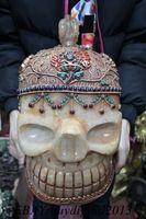 13 Тибет Буддизм Costful Кристалл инкрустация Gem ручной работы Будда череп голова статуи