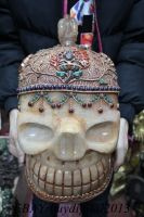 13Tibet Buddhism Costful crystal inlay Gem handwork Buddha Skull Head Statue