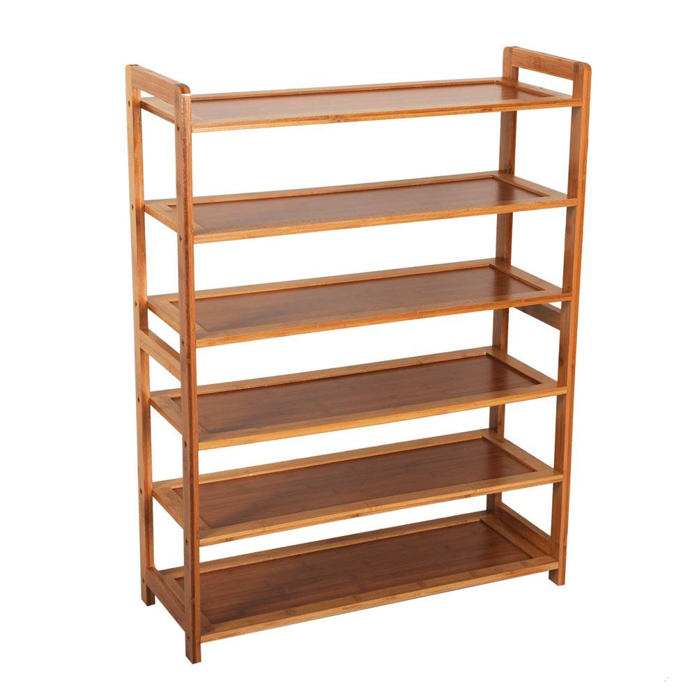 (US) Concise Rectangle 6 Tiers Bamboo Shoe Rack Shoe Shelf 6 Layers Wood Color Living Room Furniture dropshipping