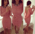 20% Off Free Shipping Cocktail Dress Scoop Mini Short Sexy Backless Sheath Long Sleeves Pink Lace Formal Dresses Party Dresses