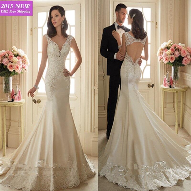 Vestido De Noiva 2015 Mermaid Wedding Dresses Designers Ivory Lace ...