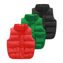 Baby pure color vest the new autumn and winter 2016 boys girls children's wear children's pure color quilted jacket wt – 5956