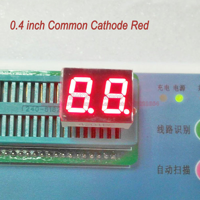 (10pcs/lot) 10 Pins 4021AR 0.4 Inch 2 Digits Bits 7 Segment Red LED Display Common Cathode Digital Display Pin2 5 Common Pin