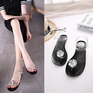 Image 4 - Ms. Summer Transparent  Sandals Rhinestone Flowers sandal Flat with Flip Crystal women slipper Beach Shoes Womens Shoes Simple