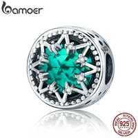 BAMOER Romantic 925 Sterling Silver Glittering Snowflake Green Crystal Beads fit Women Bracelet Jewelry Christmas Gift SCC308